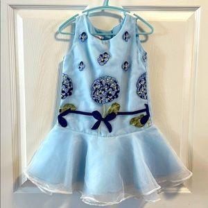 Modern Princess blue flower sheer flare dress 4